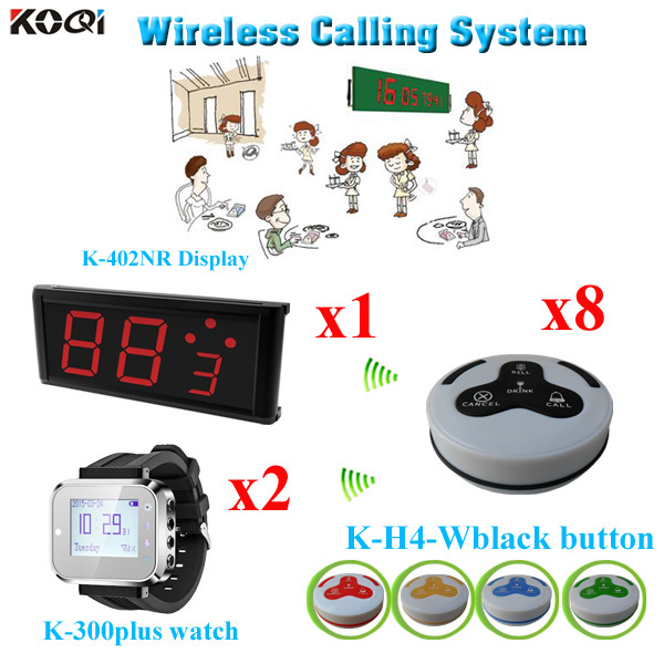 Guest Pager Calling System Waiter For Service Hotel Equipment 1pcs LED Display With 2pcs Watch Pager And 8pcs Call Button(China (Mainland))