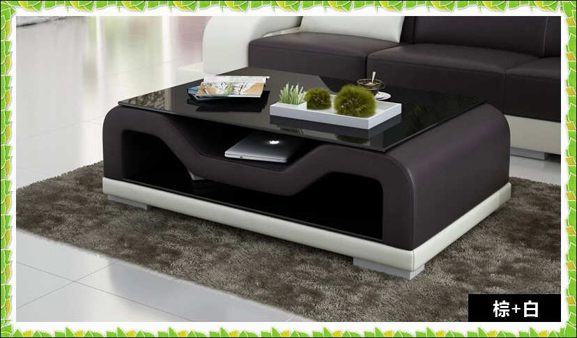 European Style Sofa Table White Black Leather Coffee Table Hot Selling In Coffee Tables From