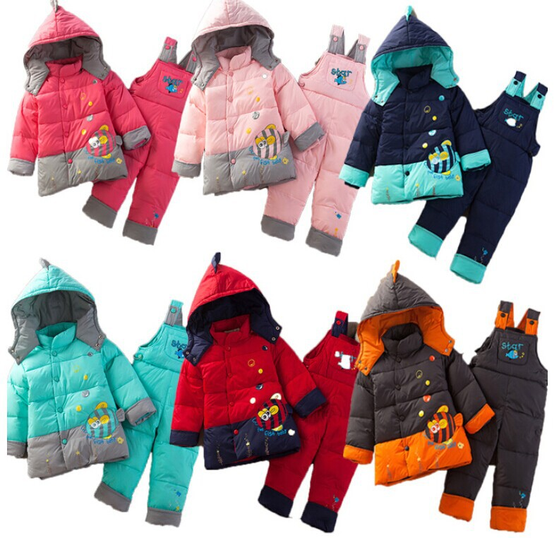 Boys and girls winter warm down jacket suit cartoon children overalls suit jacket coat free shipping(China (Mainland))