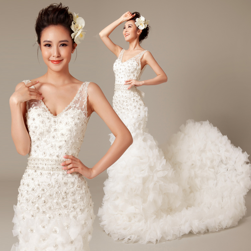 Fishtail Wedding Dress With Train : Beading feather fish tail style train princess bride wedding dress