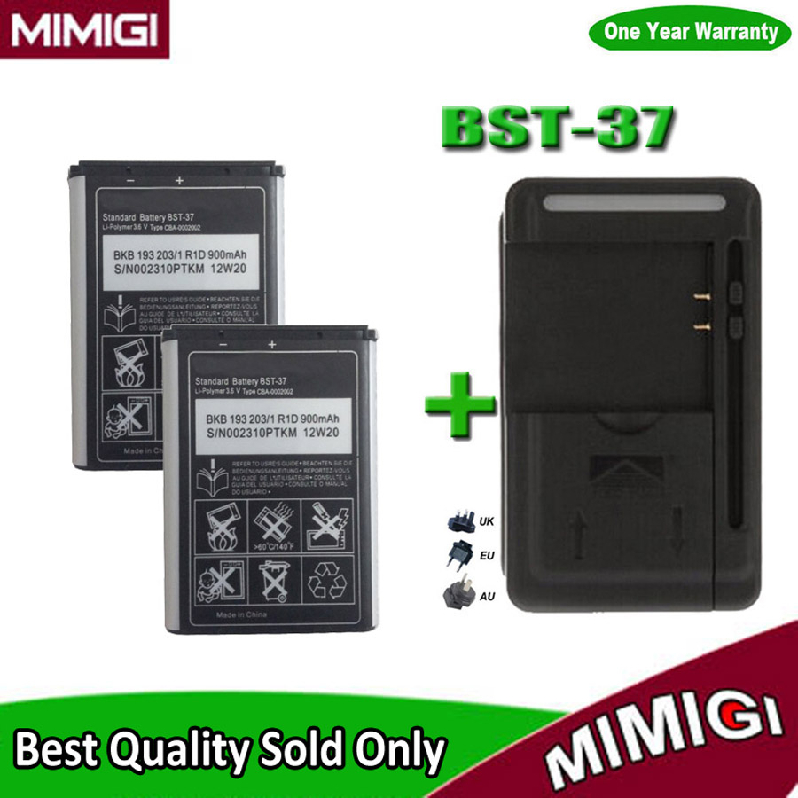 1Lot= 2PCS 900mAh BST-37 BST37 Battery +1PC Charger For Sony Ericsson W800i W810i K750 K610i D750i Z520i K200i K220i T280i W700(China (Mainland))