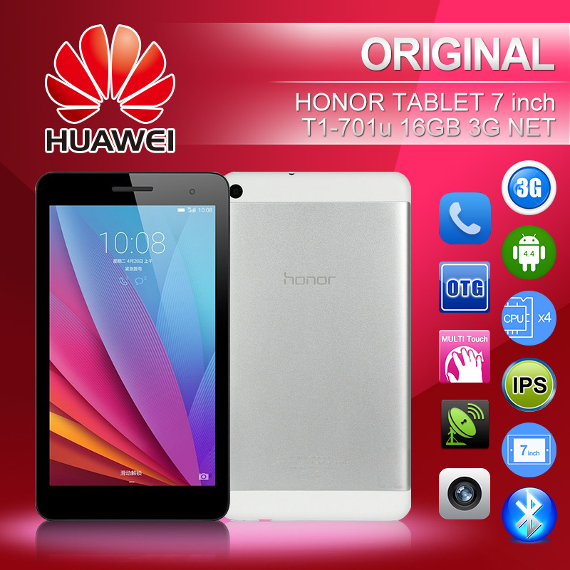 Original Huawei Tablet PC Mobile Phone honor T1 WCDMA 7 inch 1024 x600 IPS Quad Core 1.2GHz 1GB+16GB Android 4.4 2MP+2MP GPS(China (Mainland))