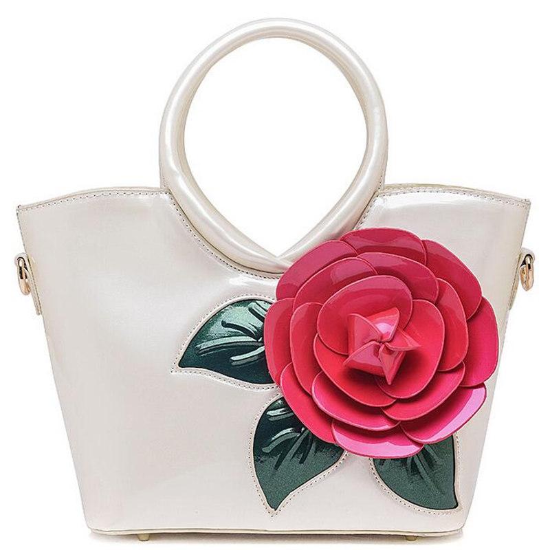 Brand Designer Flower Patent Leather Handbag Ladies High Quality Shoulder Bag Bride Tote Bag Small Casual Cross Body Bag Bolso(China (Mainland))