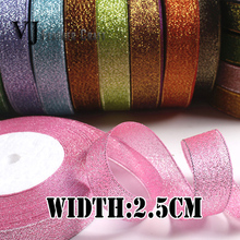 1″,25mm,2.5cm 25Yards 22Meters/roll Wedding Metallic Luster Glitter Ribbon For Party Decoratio Crafts Invitation Card Gift Wrap