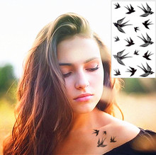 Sexy Elegant Black Swallows 3D Tattoo Pattern Sticker Waterproof Summer Beach Party Temporary Body Art FREE SHIPPING