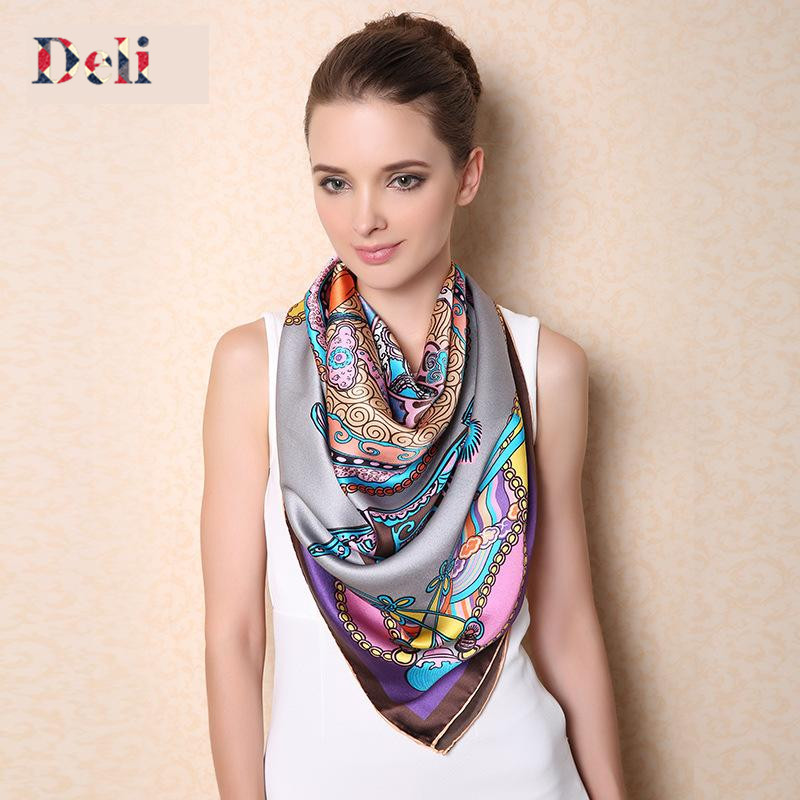 2015 Women Pure Natural Silk Large Square Scarf 100% Mulbery Silk Printed Ladies Brand Winter Scarves Shawls 110x110cm WRF513(China (Mainland))