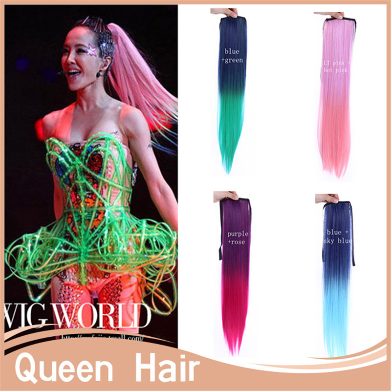 2460cm Long New Straight Ombre Clip In Hair Extensions Women Synthetic Hair Piece AccessoriesJapam\n HIgh Temperature Fiber<br><br>Aliexpress