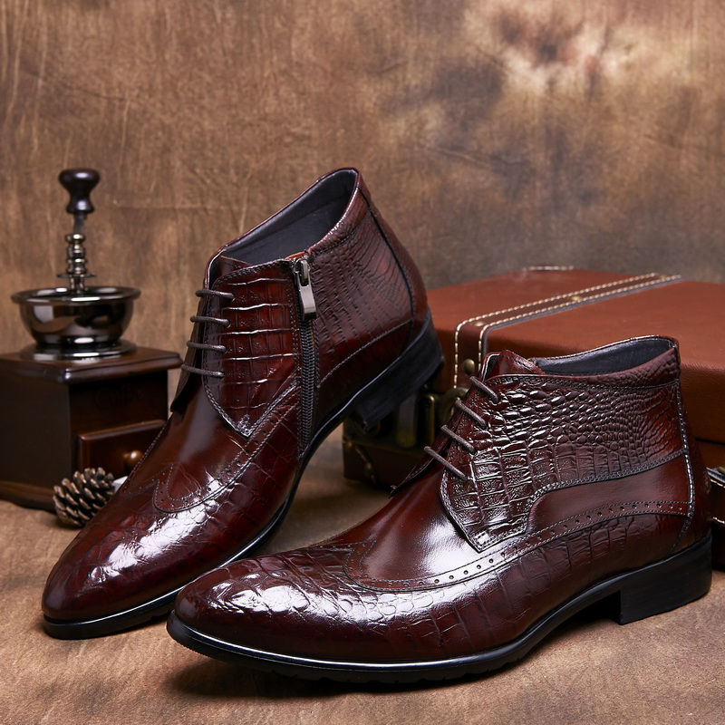 black brown autumn mens ankle boots genuine leather