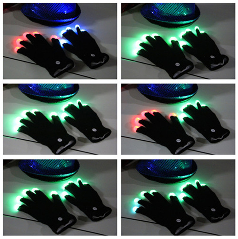 20pcs/lot LED Gloves Toys Rave Light Finger Lighting Glove Glow Mittens Black Cotton Night Party Use Toy(China (Mainland))