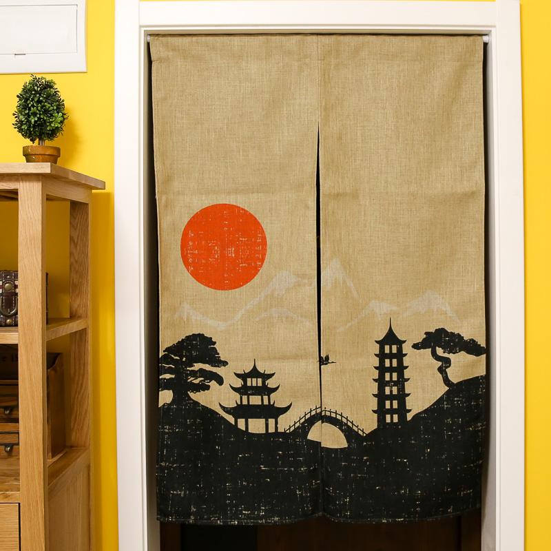 Beautifully Kitchen Door Curtains: Japan Style Cotton Linen Door Curtains Beautiful Scenic