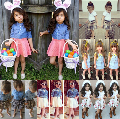 New 2015 Spring and Autumn Baby Girls Clothing Sets 2 pieces Casual Tops + Short Skirts Set Suit Girls Clothes Conjunto Fashion(China (Mainland))