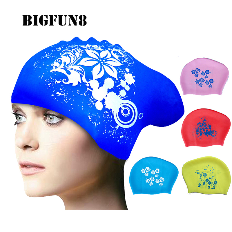 Silicon Printed Swimming Caps Multicolor Women Long Hair Ear Production Swim Cap Water-proof Diving & Surfing Hat Female Chapeau(China (Mainland))