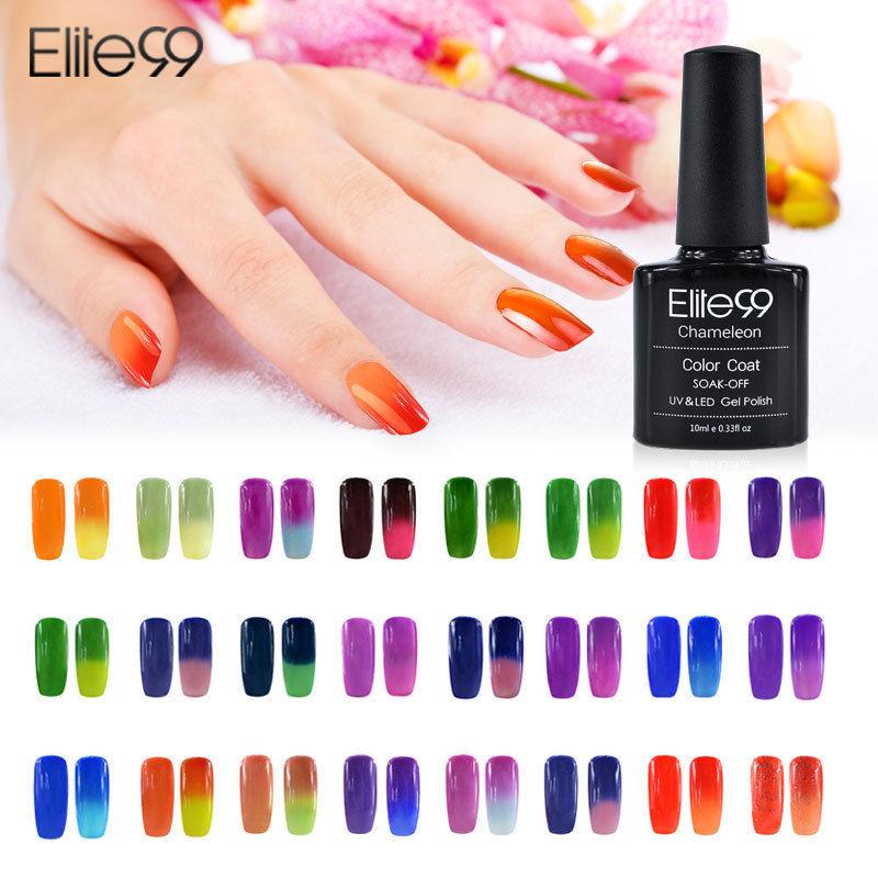 Elite99 Temperature Color Change UV Gel Nail Polish Long Lasting 10ml Soak Off Gel Nail Varnish Pick One Thermo Gel Coating(China (Mainland))