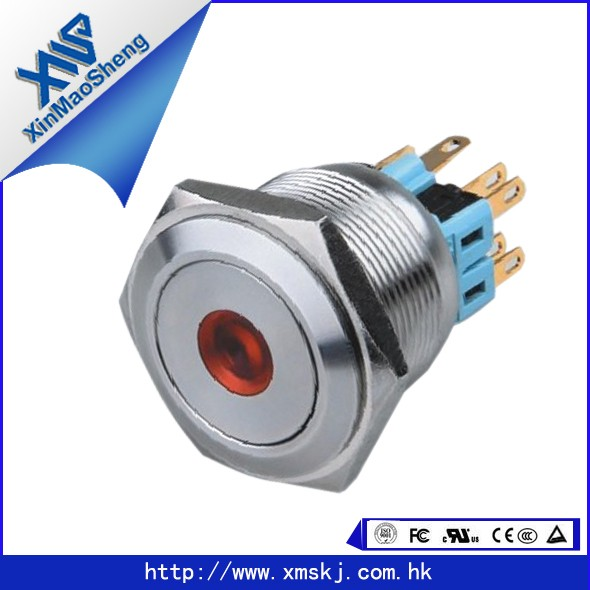 XMS metal 28mm illuminated dot lamp latching 1NO1NC Push Button Switch X28-381(China (Mainland))