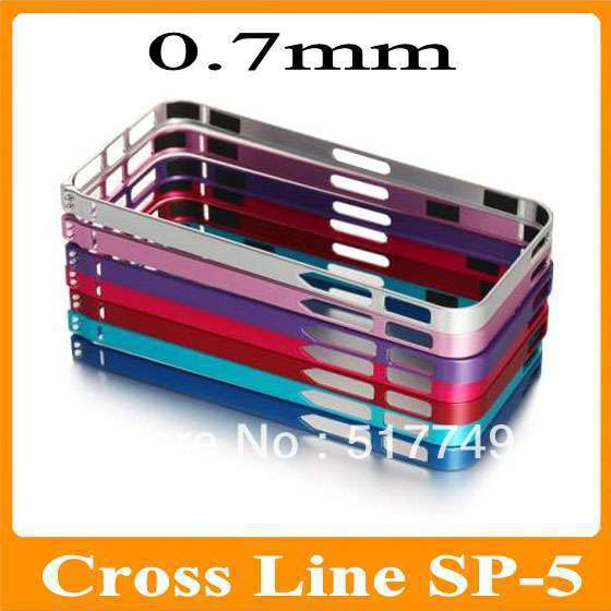 10pcs/lot Cross Line Metal Aluminum Case For Iphone5S 0.7mm Ultra thin SP-5 Bumper For iPhone 5 5G 5S Drop shipping(China (Mainland))