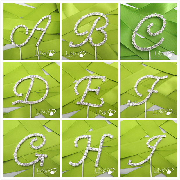 1pcs high quality new design Wedding Cake Toppers letter a-z crystal Wedding Cake decoration wedding favor Supplies(China (Mainland))