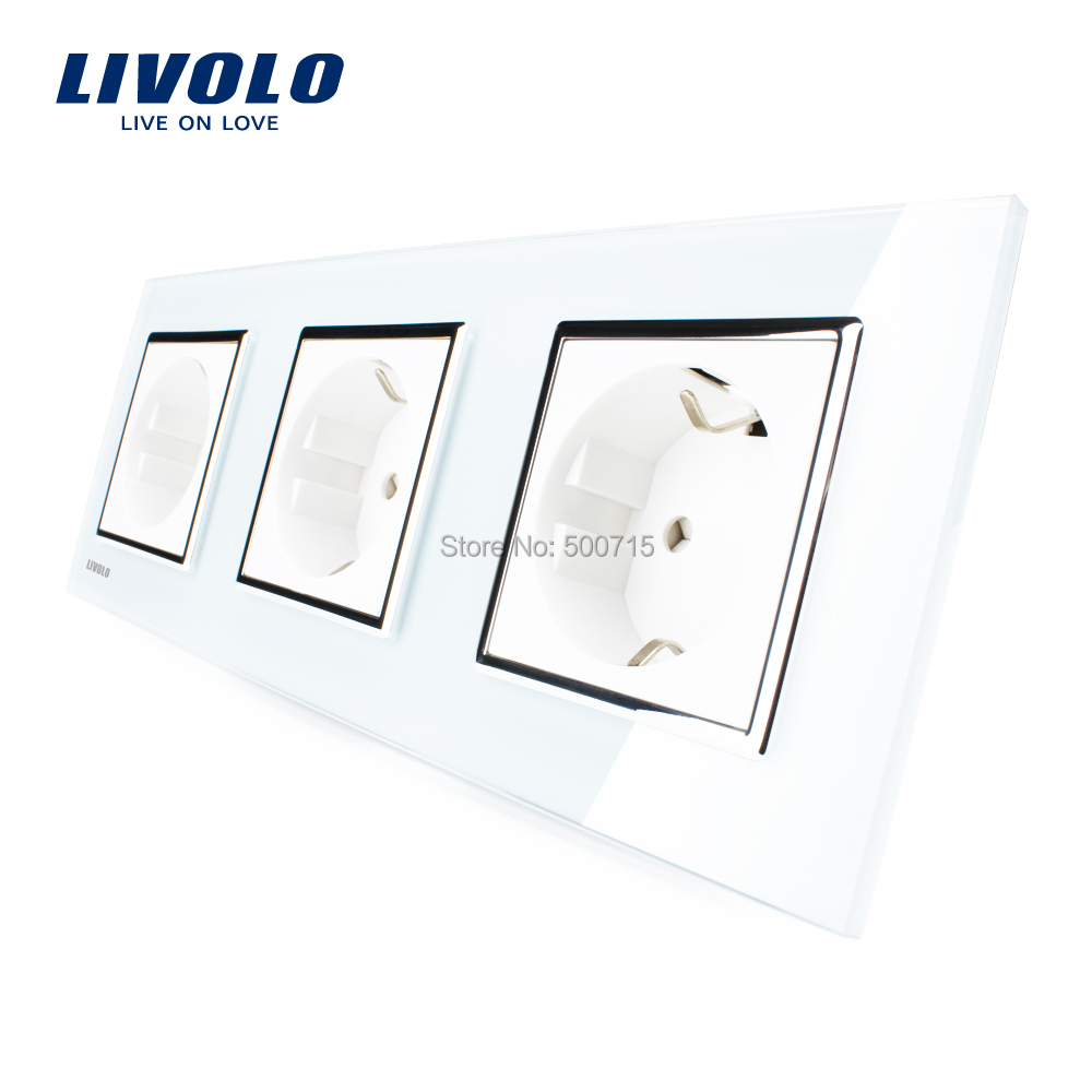 Livolo New EU Standard Power Socket, White Crystal Glass Outlet Panel, Multi-function Triple Wall Power Outlet Without Plug(China (Mainland))