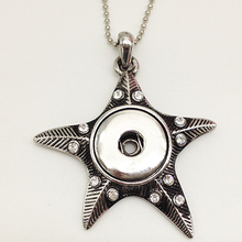 Starfish snap button jewelry newest pendant Necklace (fit 18mm 20MM snap) NK1050(China (Mainland))