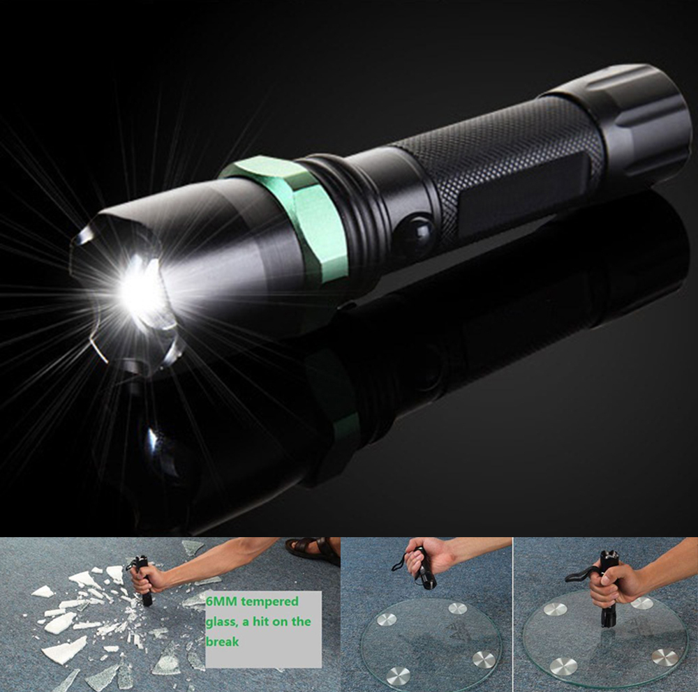 High quality LED flashlight super bright High Power charging rotate, zoom, long shots, with safety hammer flashlight lighting(China (Mainland))