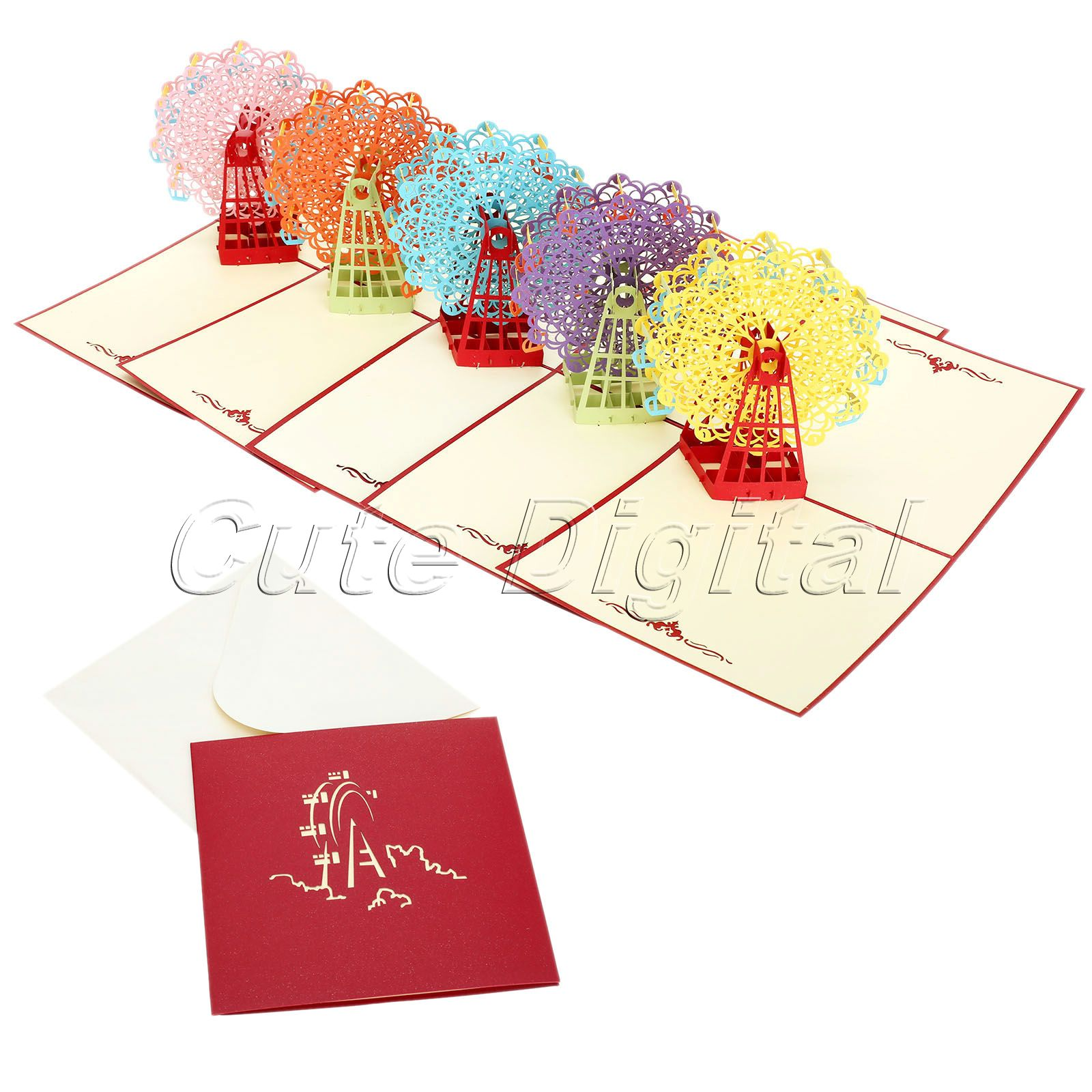 15x15cm Multicolor 3D Pop Up Paper Greeeting Card Ferris Wheel Cards for Best Wishes of Happy Birthday Valentine Day Anniversary(China (Mainland))