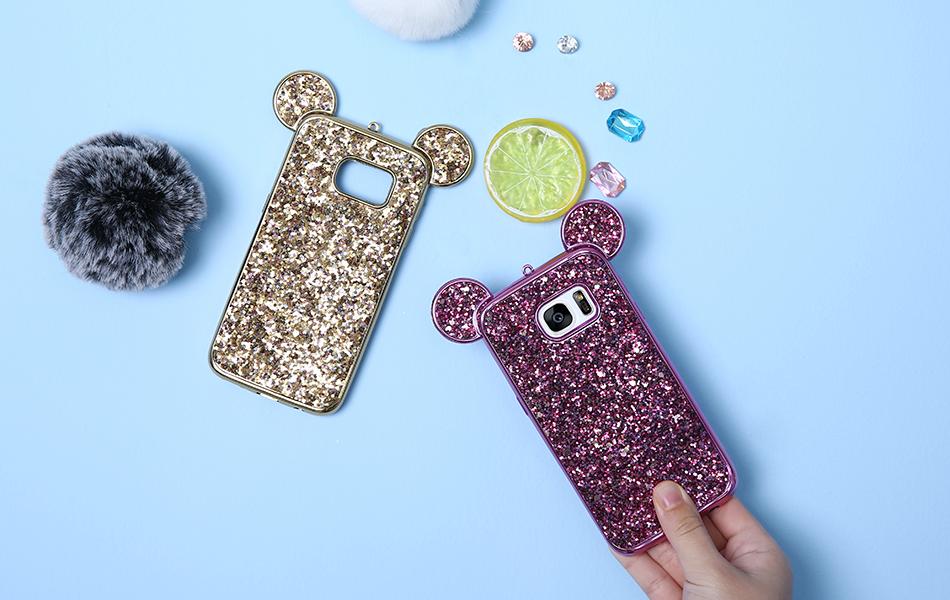 Корпус для KISSCASE Samsung Galaxy S8 Plus S6 S7 Edge Mickey Mouse Плакировочная рамка edge Edge|case for samsung Glitter TPU Case 023 (10)