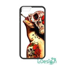 Fit for iphone 4 4s 5 5s 5c se 6 6s plus ipod touch 4/5/6 back skins cellphone case cover Floral Sugar Skull Tattooed