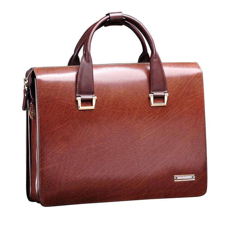 Teemzone Men Genuine Leather Vintage Formal Business 14u0026quot;Lawyer Briefcase Messenger Shoulder ...