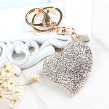 Sweet Peach Heart New Cute Crystal Charm Pendant Purse Bag Car Key Ring Chain Jewelry Gift Bling heart Pendant(China (Mainland))