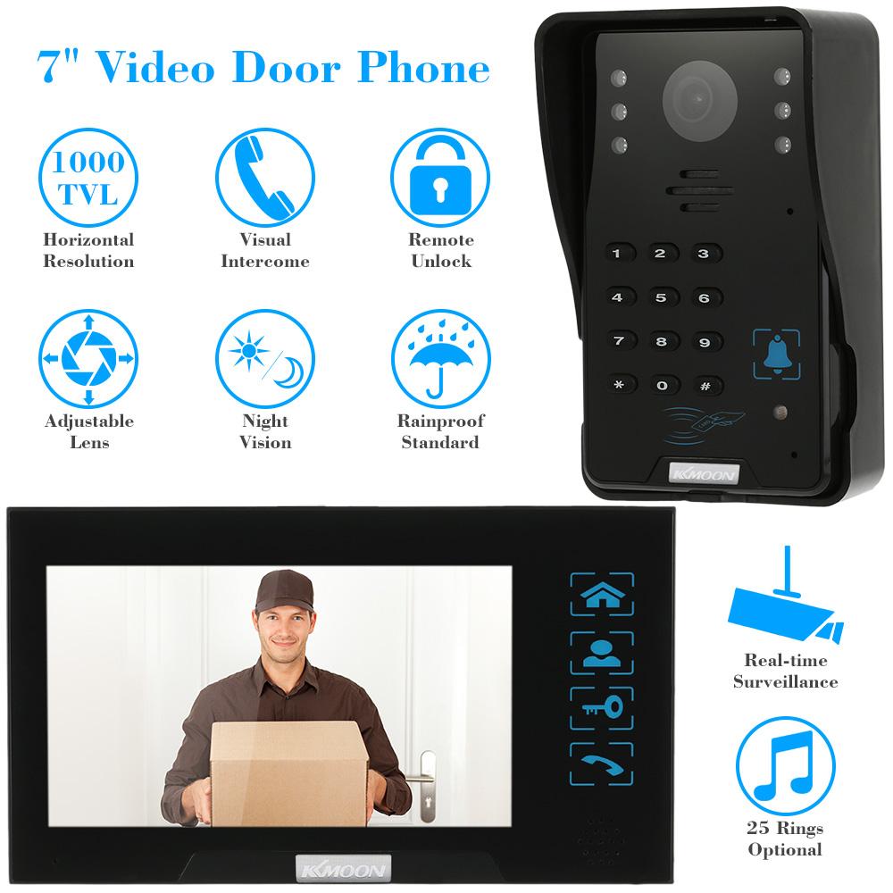 "KKmoon Wired Touch Key 7"" Video Door Phone Intercom Doorbell System Kit Night Vision 1 RFID Keypad Code IR Camera +1 Monitor(China (Mainland))"