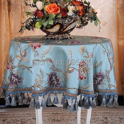 sequin luxury blending printing table cloth bas relief round table cover elegant house deco tassels cloth for desk table towels(China (Mainland))