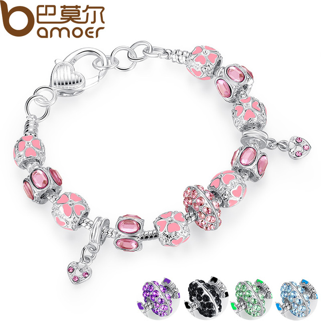 2016 NEW Winter Collection 925 Silver Charm Bracelet for Women With Pink Crystal Murano Glass Beads PA1400
