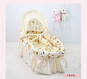 2015 Hot Baby Carry Basket Europe Style Baby Bassinet with Maize Basket, Skirt and Canopy