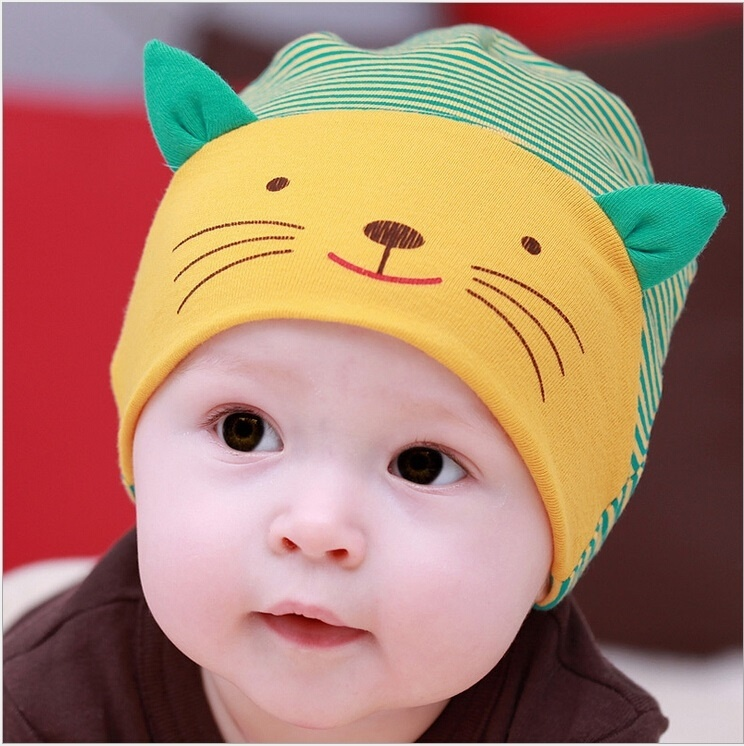 New Spring Autumn Fashion Lovely Cute Baby beanies Girl Boy Toodler Infant Striped Cotton Cap Cartoon Cat Beanie Hat(China (Mainland))