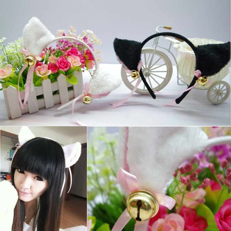 Free Shipping 1 pc Fashion Cosplay Party Anime Costume Cat Fox Ears Fur Hair Clip band bell(China (Mainland))