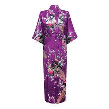 Hot Sale Purple Mujer Pijama Chinese Women's Long Robe Kimono Bath Gown Silk Rayon Sleepwear Plus Size S M L XL XXL XXXL Zh01E(China (Mainland))
