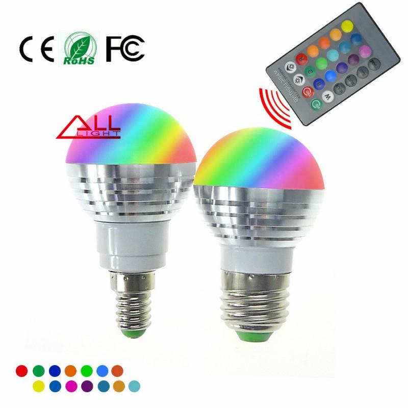 LED RGB Bulb Lamp E27 E14 AC85-265V 5W LED RGB Spot Blubs Light Magic Holiday RGB lighting+IR Remote Control 16 Colors(China (Mainland))