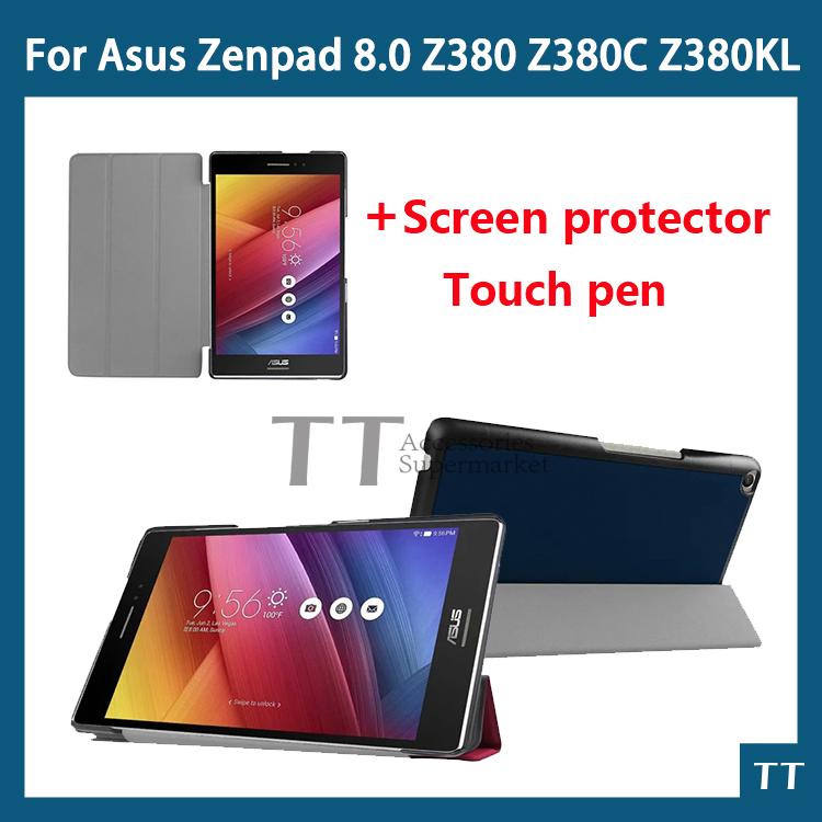 Для ASUS Zenpad 8.0 стойки кожи флип чехол для ASUS Zenpad 8.0 Z380 Z380KL Z380C таблетки чехол + защитные пленки + ручка чехол для asus zenpad z170c asus tricover полиуретан черный