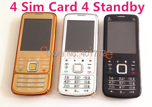 4 SIM Cards 4 Standby Gold 6700 Analog TV Bluetooth Camera FM Radio Cheap Mobile Phone 2TF Card Slots Russian Polish Greece(China (Mainland))