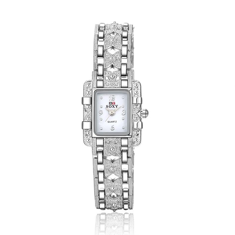 SOXY Luxury Brand Watch Fashion Silver Bracelet Quartz Watch Women Dress Watches Ladies Watch Lady relogio feminino