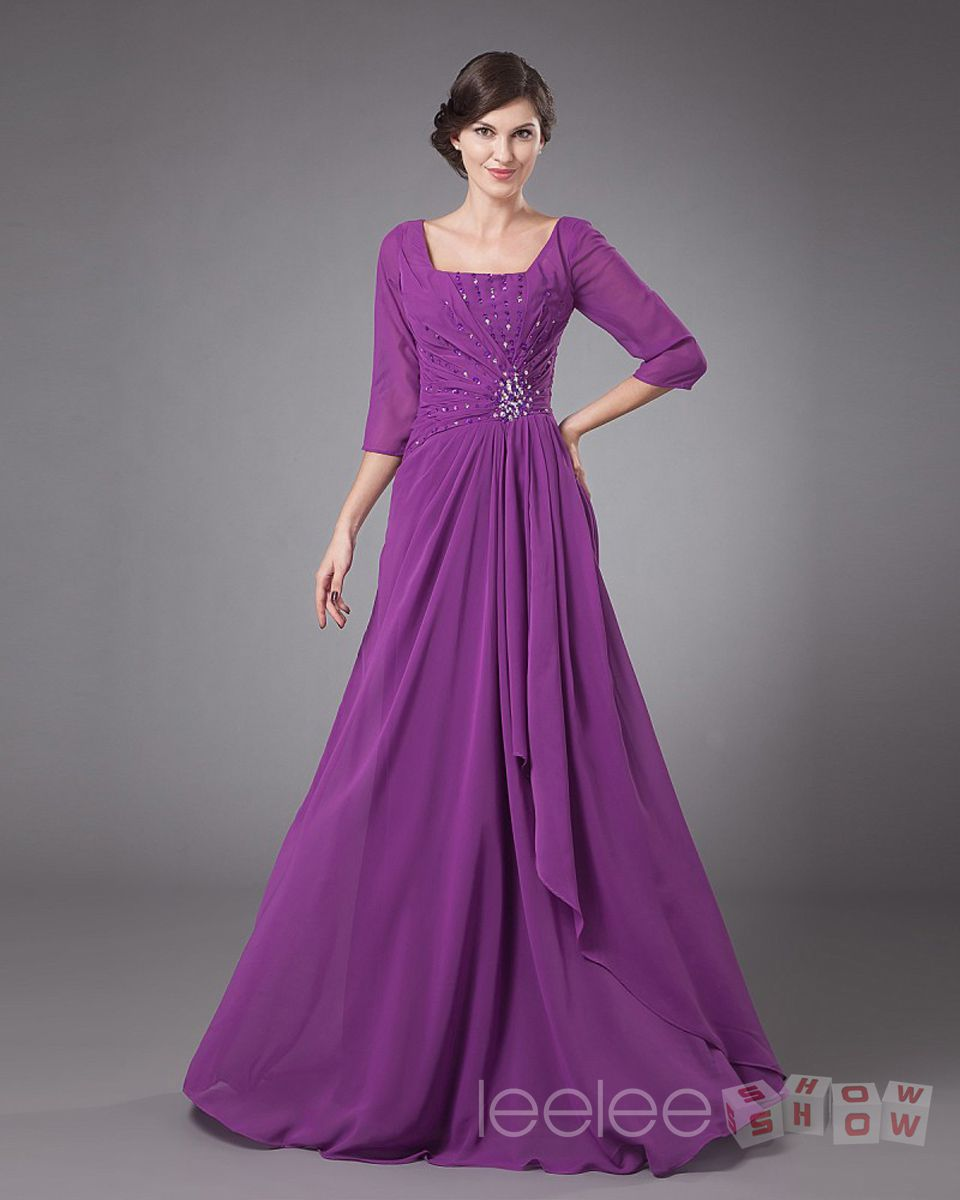 Chiffon grape floor length half sleeves plus size mother for Plus size wedding dresses with color and sleeves