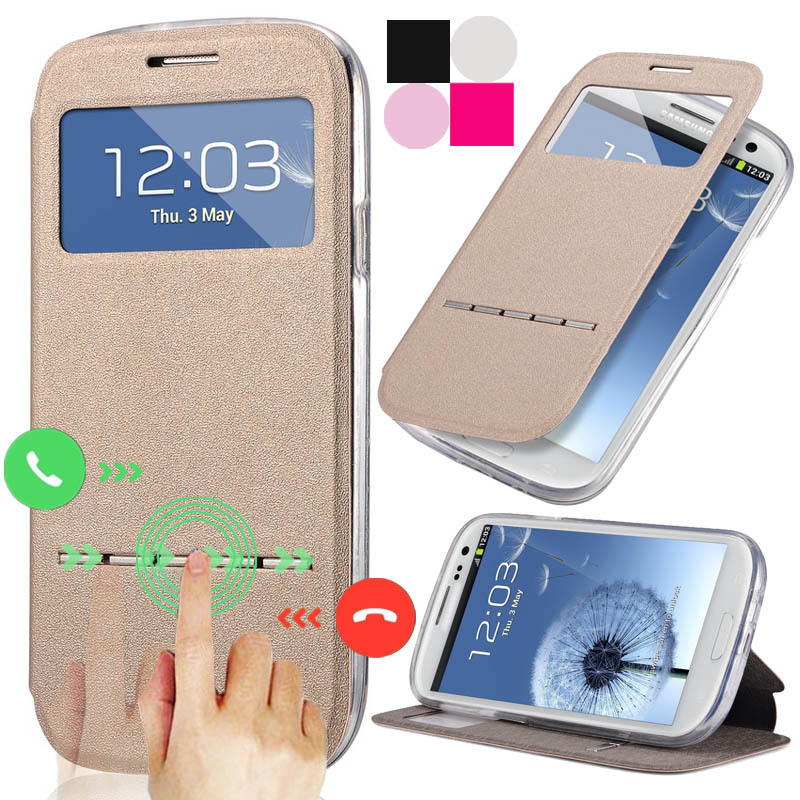 S3 Smart Unlock Leather Case For Samsung Galaxy S3 i9300 i9305 Open Window With Stand Full Protect Phone Accessories Bag Cover(China (Mainland))
