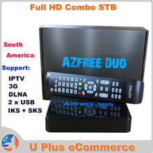 2PCS AZFREE DUO Full HD Digital Satellite Combo Receiver = TOCOMFREE S929 DVB S/S2 MPEG 2/4 H.264 IKS + SKS South America IPTV