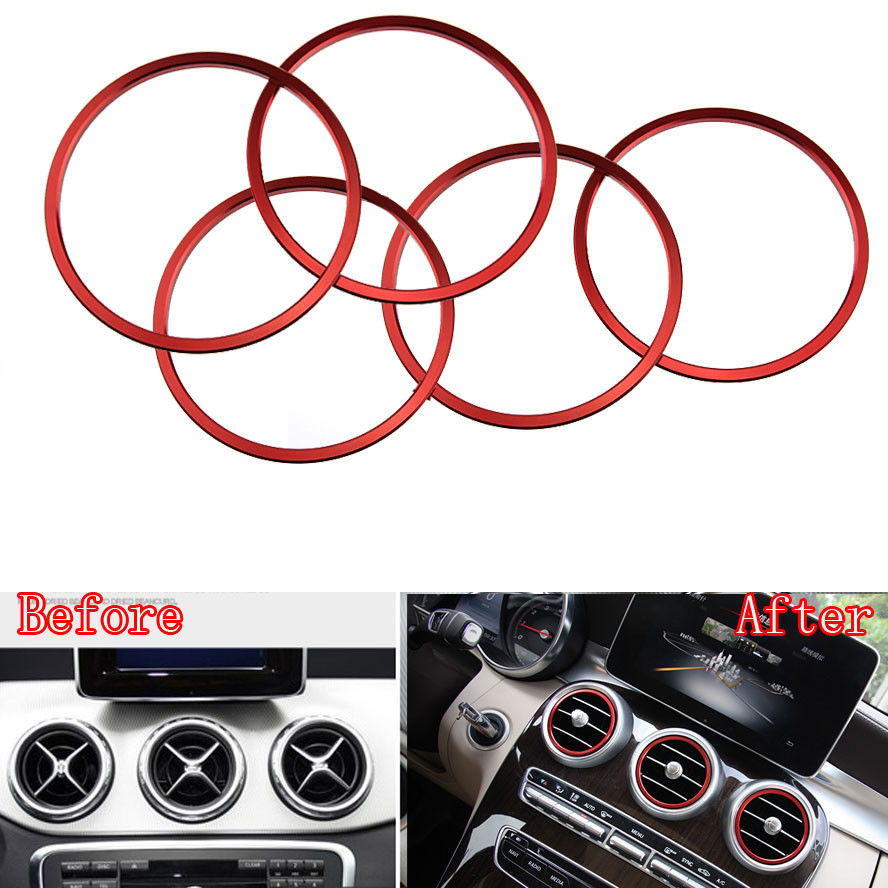 Red Air Vent Outlet Ring Cover Trim Decoration Fit Benz CLA C117 W117 2014-2015 Car Styling Auto Accessories Car-Covers - Fashional Trading store