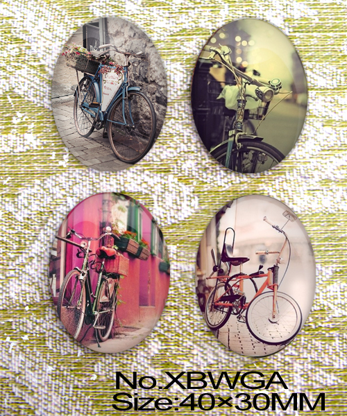 Min order 10$ 4pcs Bicycle Oval Glass Cabochon Cameo for 30x40mm base setting XBWGA(China (Mainland))