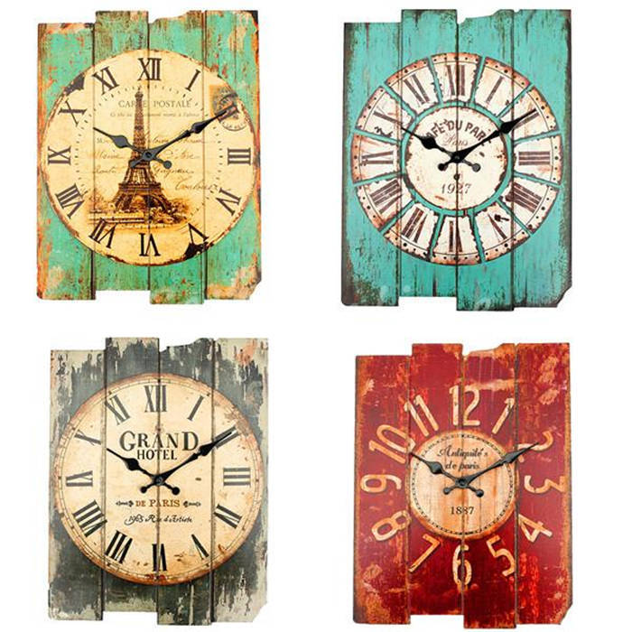Overvalue! Retro Vintage Rustic Wall Clock Shabby Chic Home Office Coffeeshop Bar Decor Decoration Best Gift Craft 4 Stylish(China (Mainland))