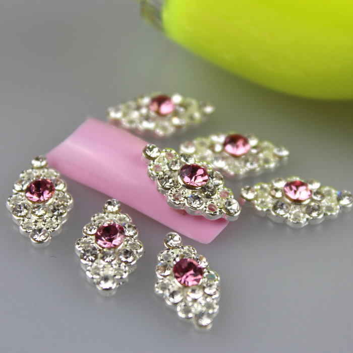New Arrival 10pcs/pack 13mm*8mm Alloy 3D Nail Art Decorations, Pink Glitter Rhinestones Nail Design, Accessories Nails(China (Mainland))