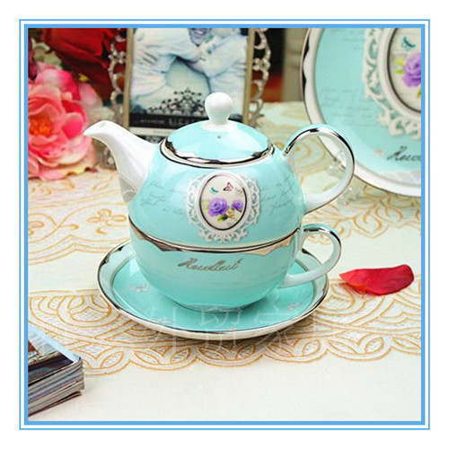 handmade fine new bone china ceramic teapot cup and saucer of nocturne beauty decal porcelain teapot set with cup for one person(China (Mainland))