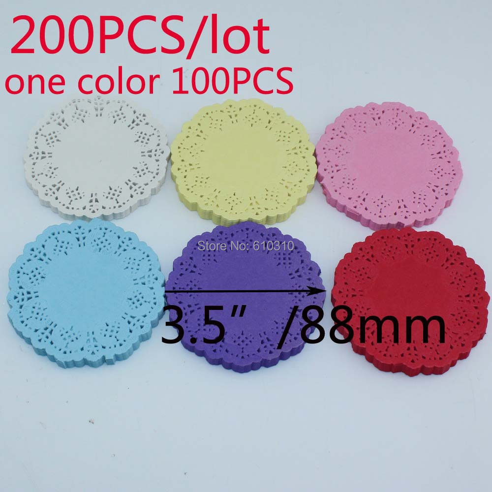 "Free shipping 3.5""/88mm 6 colors Vintage napkin Hollowed Lace Paper mat Crafts paper doyleys/Wedding Decoration(200pcs/bag)(China (Mainland))"