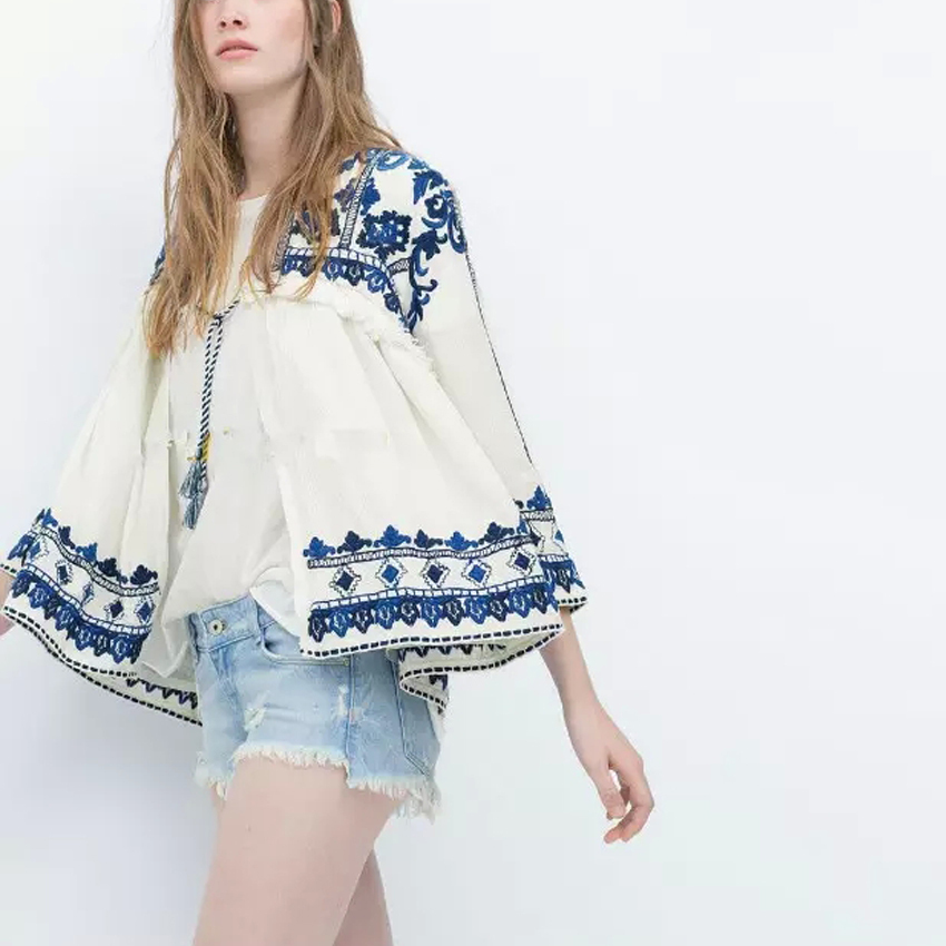 Trendy Vintage Retro Ethnic Fashion Women Embroidered Blue and White Flower Print Loose Casual Linen Cardigan Jacket Sunscreen(China (Mainland))