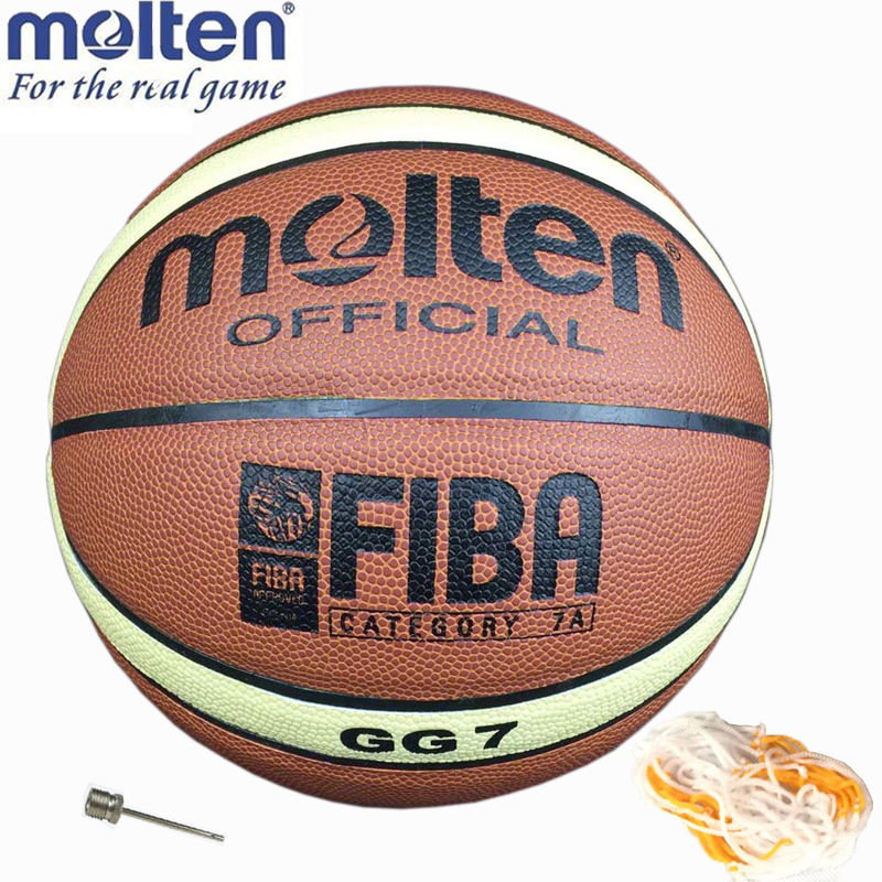 Newest Quality Size7 Molten GG7 PU Leather Basketball indoor and outdoor Ball Training Equipment and Free With Net Bag+Pins(China (Mainland))